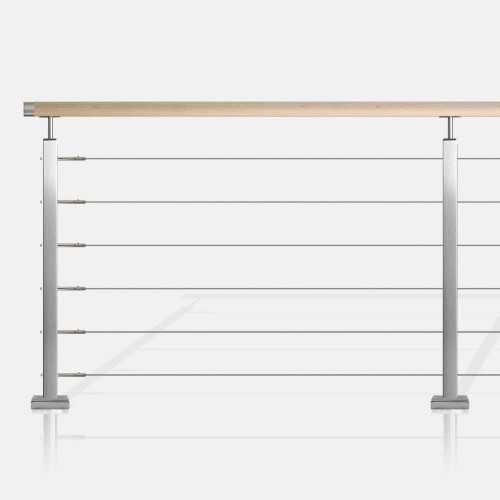 Garde-corps à 6 câbles traversants tube carré main courante bois
