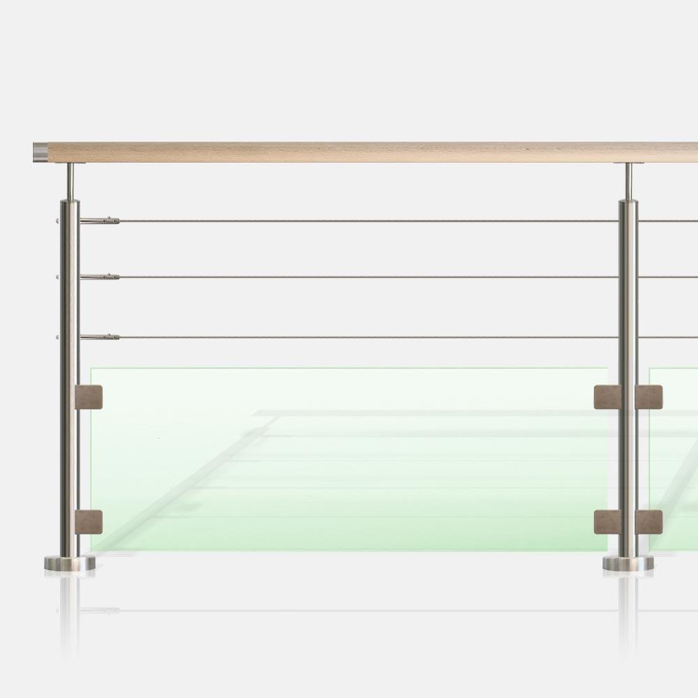 garde corps 3 c bles et verre tube rond. Black Bedroom Furniture Sets. Home Design Ideas