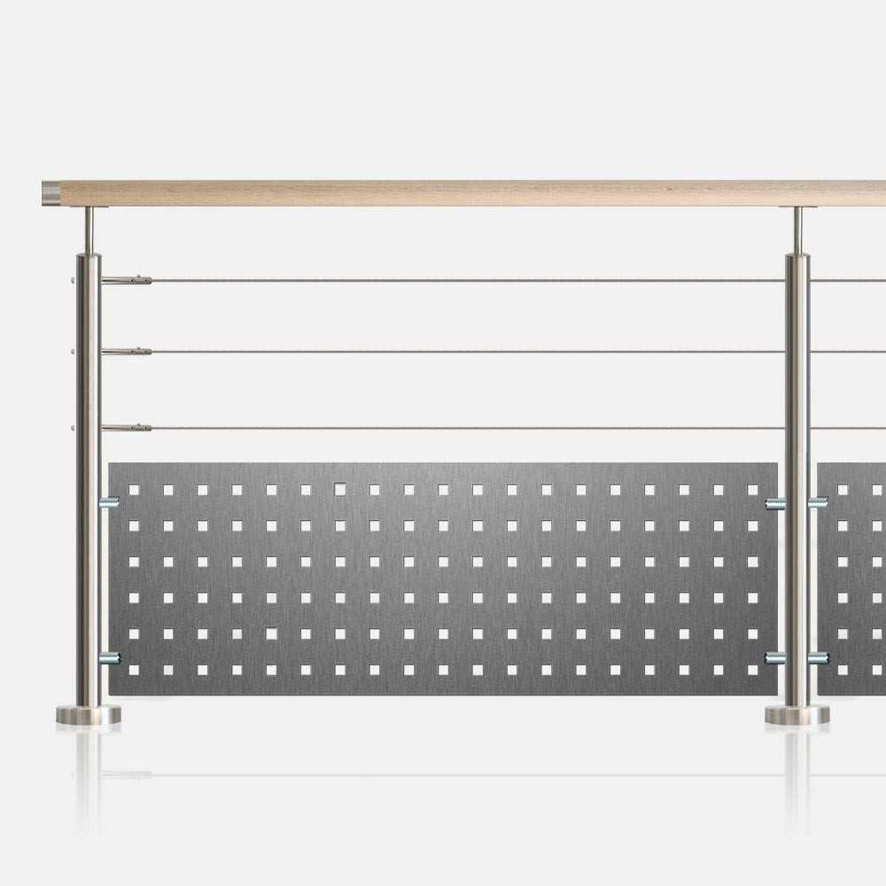 garde corps 3 c bles et t le perfor e tube rond. Black Bedroom Furniture Sets. Home Design Ideas