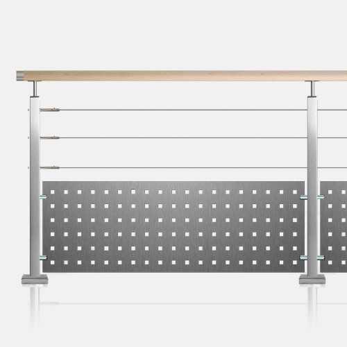 Garde-corps à 3 câbles et tôle tube inox carré main courante bois