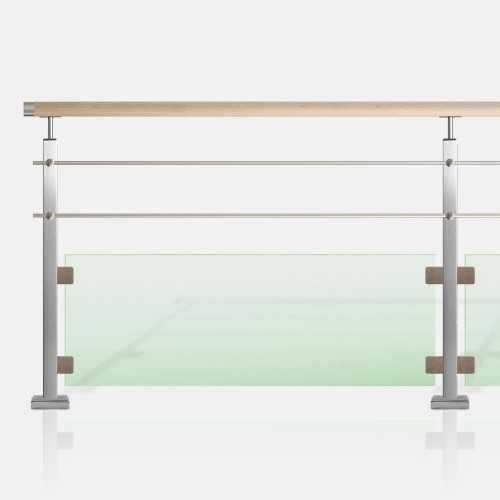 Garde-corps lisses et verre tube inox carré rampe bois