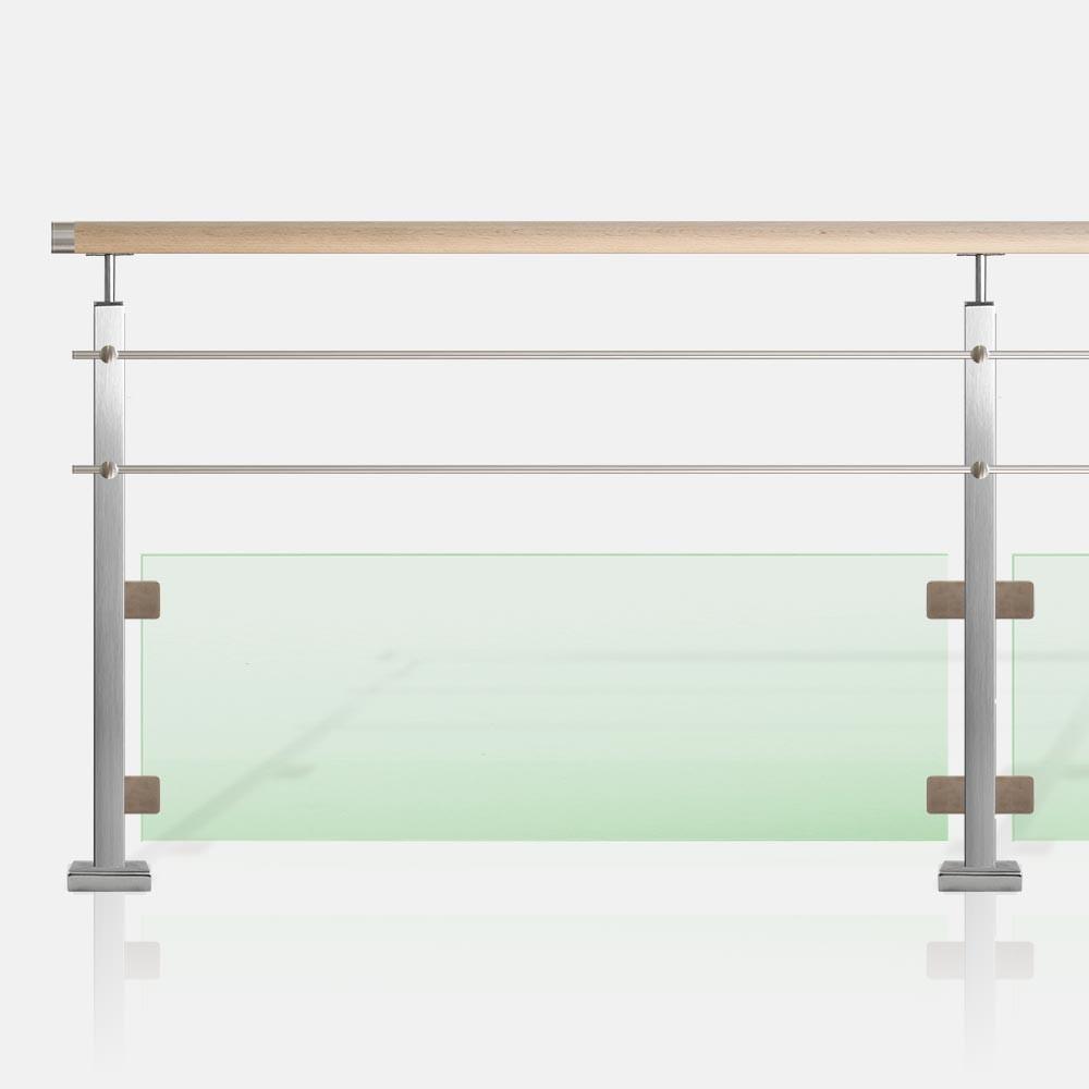 garde corps 2 lisses et verre tube carr. Black Bedroom Furniture Sets. Home Design Ideas
