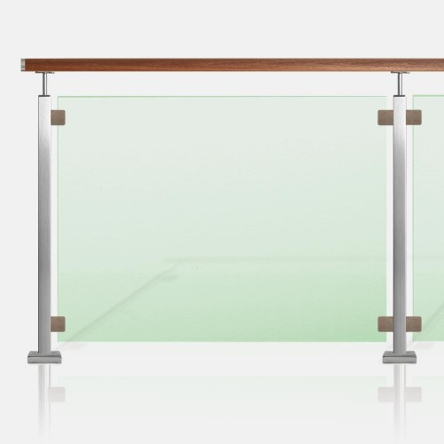 Clôture piscine inox et verre tube carré main courante bois exotique