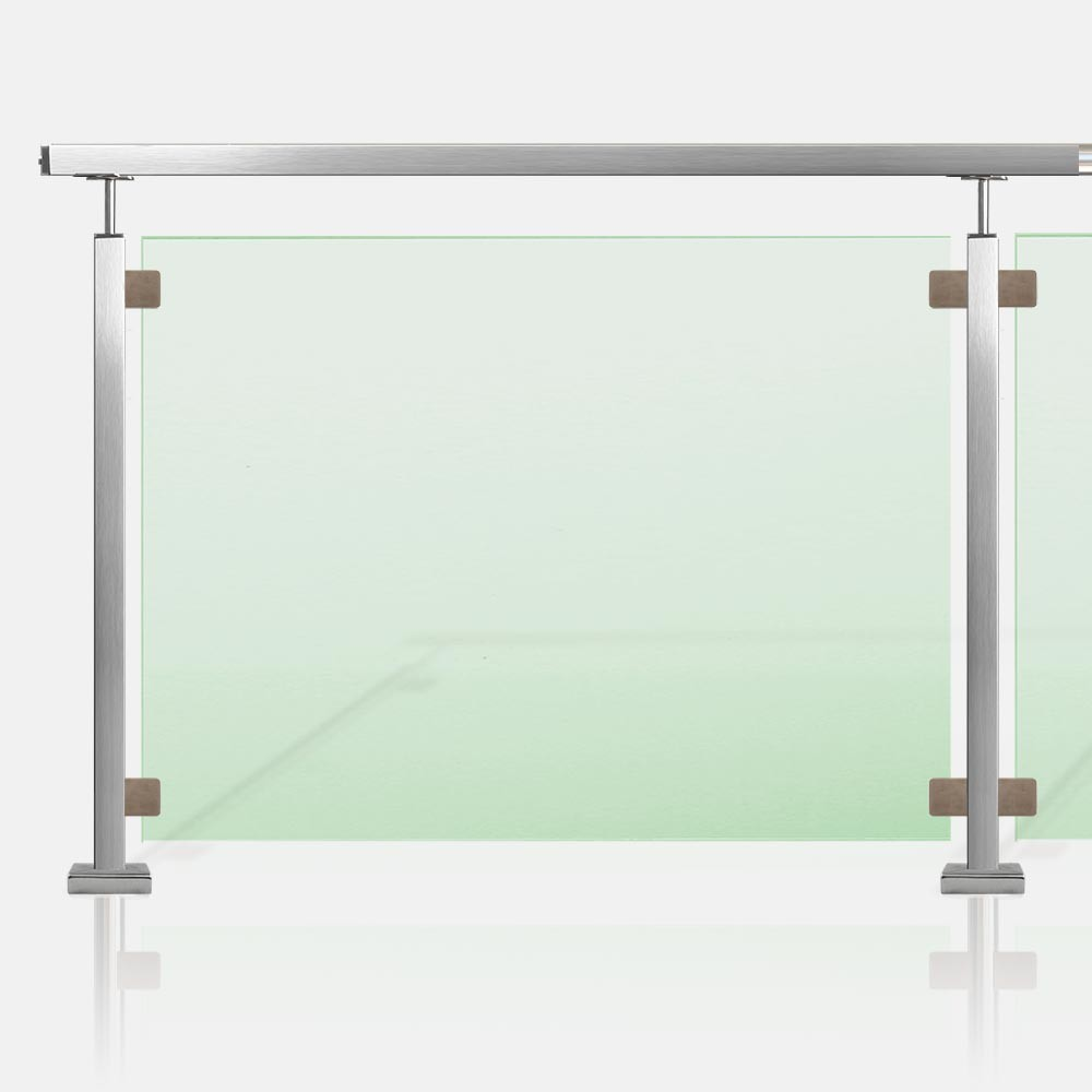Barri re piscine inox et verre tube carr for Barriere piscine verre inox