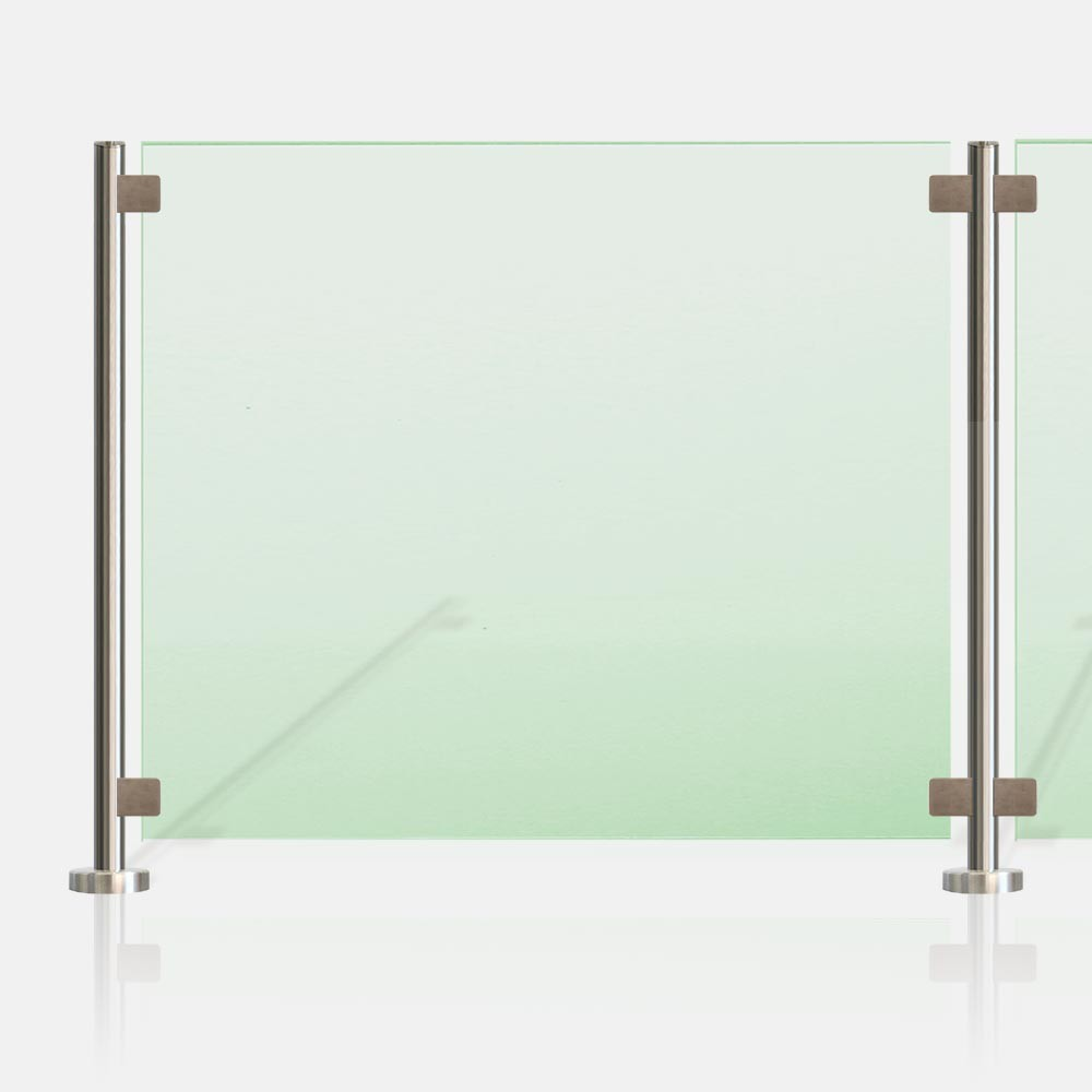 Cl ture piscine inox et verre sans main courante for Cloture piscine verre