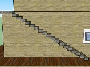 Croquis d'un escalier pour prise de cotes