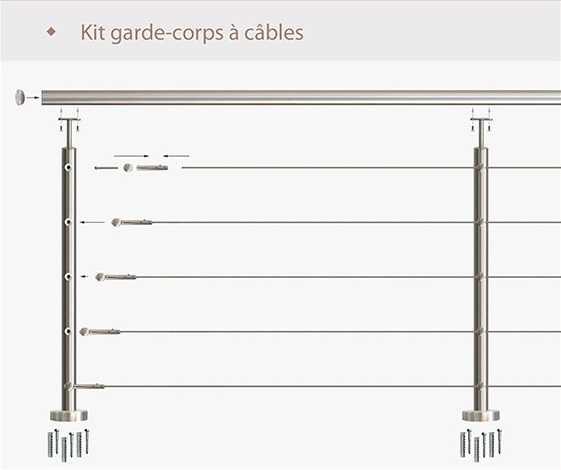 Garde-corps à câble en kit