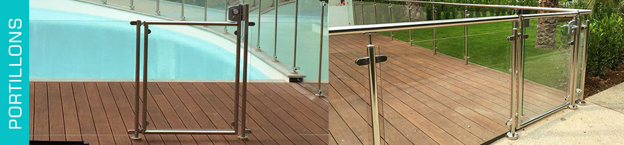 Garde corps piscine inox amazing portillon en verre avec for Portillon piscine verre